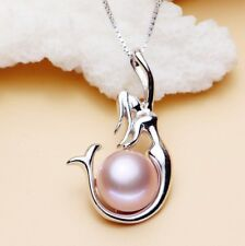 "Sterling Silver Freshwater 8mm Purple Pearl Mermaid Pendant 18"" Chain Necklace"