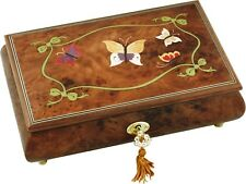 Inlaid Butterflies Musical Jewellery Box in Burr Elm 36 Note Movement