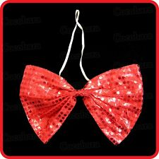 RED SPARKLING BLING SUPER LARGE SEQUINNED SEQUINED SEQUINS CLOWN JUMBO BOW TIE