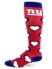 New York Giants Football Red Blue & White Repeat Hearts Thin Long Socks