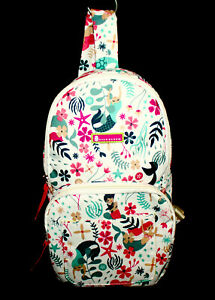 LILY BLOOM Sea Garden Mermaids Sling Backpack Off White & Multicolor Polyester