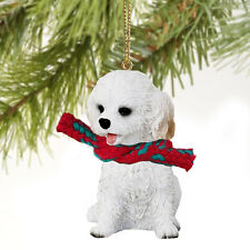 Cockapoo white dog Ornament Hand Painted Resin Figurine Christmas Collectible