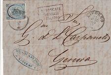 PIROSCAFI POSTALI ITALIANI-20c(24)-Lettera con testo Livorno- Genova 23.12.1865