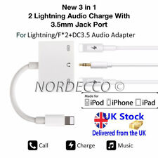iPhone 7 8 x 2 LIGHTNING AUDIO AURICULARES Cargador Adaptador Divisor de 3.5
