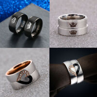 His Queen And Her King Heart Titanium Steel Ring Lovers Couple Anniversary Rings