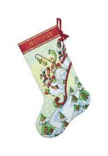 Cross Stitch Kit ~ Dimensions Sledding Snowman Christmas Stocking #70-08853