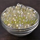 25pcs 6mm Cube Square Faceted Crystal Glass Charms Loose Spacer Beads Yellow
