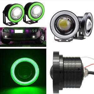 """2x Green 2.5"""" 64MM Car COB LED Fog Light Projector Angel Eyes Halo Ring DRL 10W"""