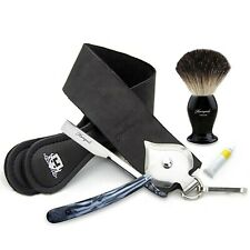STRAIGHT CUT THROAT SHAVING RAZOR SET WITH LEATHER STROP & BADGER BRUSH GIFT SET