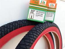 "1 PAIR 20X2.25 BMX BICYCLE STREET RED/BLACK TIRES & 2-20"" TUBES *FREE RIM LINERS"