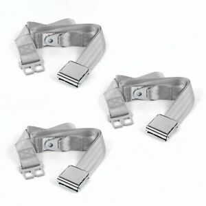 Early Cars 1941 - 1948 Airplane 2pt Gray/Grey Lap Bench Seat Belt Kit - 3 Belts