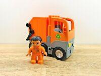 LEGO Duplo Orange Recycle Garbage Rubbish Dump Truck With Driver Set
