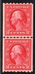 1912 US SC 411 2c Red Washington Perf 8.5 Horizontal Joint Line Pair MNH XF Gem