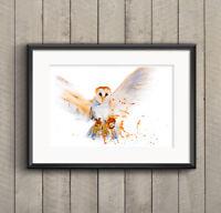 WILL ELLISTON Barn Owl Bird Watercolour PRINT original painting signed artist HQ