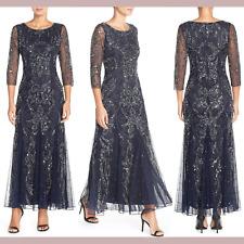 SZ 4P 6P 8 NEW $218 Pisarro Nights Beaded V-Neck Godet Gown in New Grey #F101