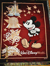 VT WALT DISNEY WORLD AFGHAN TAPESTRY THROW 50x60''MICKEY MOUSE RED