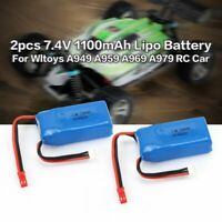 2PCS 7.4V 1100mAh Lipo Battery with JST Plug for Wltoys WLtoys A949 A959 RC Car