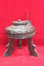 Antique Wooden Handcarved Mini Hand Aata Chaki Flour Mill with Stand Decor PU-23