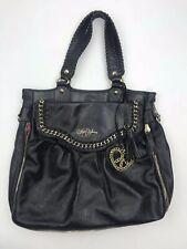 Betsey Johnson Black Leather Large Purse Hand Bag Zip Peekaboo Lace Chain