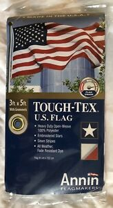 Annin Flagmakers 3' x 5' Tough-Tex High Wind Usage US Flag -  Made in USA  - NEW