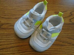 Surprize by Stride Rite sz 12-18 mo  white, gray & lime greeni infant shoes Ex.