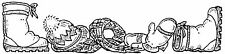 Unmounted Rubber Stamps, Seasonal, Snow, Winter Border w/ Boots, Hat, Scarf