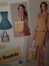 Simplicity Sewing Pattern 1666 Ladies Misses Dress Top Skirt Bag Size 6-14 UC