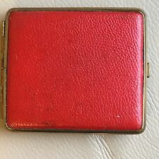 Vintage Retro Mid Century 1950s 1960s Red Leather GT Cigarette Case Clip Closure