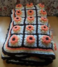 Vtg Hand Crocheted Granny Square White Orange Yellow and Brown Full Size Afghan