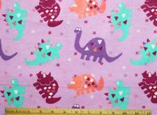 SNUGGLE FLANNEL *MULTI-COLOR DINOSAUR on LAVENDER 100% Cotton Fabric BTY