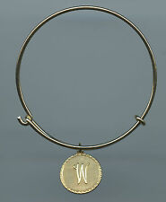 Gold Plated Vintage Script W Initial Charm Wire Bangle Bracelet With Clasp