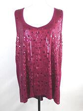 TORRID Women's Cranberry Sleeveless Sequin Discs Tank Shirt High Low SZ 3