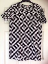 Chelsea Girl @ River Island Retro Geometric Black White Tunic Dress Size 6