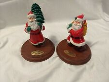 2 Vtg Willitts Designs Hallmark Cards Santa Figurines Wood Base Christmas 1991