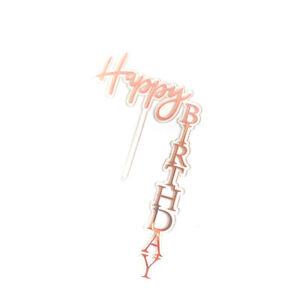 Acrylic Vertical Cake Topper Happy Birthday DIY Baking Card Party Decor Supplies