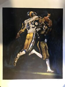 Super Bowl XIV Pittsburgh Steelers Artist MERV CORNING Autographed #d Lithograph