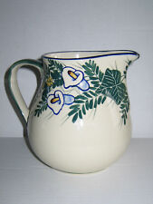 "Vintage Polish Pottery 6.5"" Jug Pitcher with Lilies Blue Trim Unikat Bolesawiec"