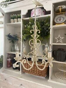 LAURA ASHLEY 4 Arm Vintage Style Cream Metal Chandelier Ceiling Light