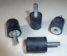4x Schwingungsdämpfer Gummipuffer Silentblock; AG M6x18/ IG M6x10, Gummi 20x25mm