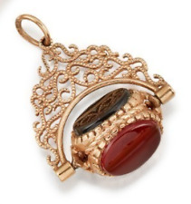 bloodstone and onyx with filigree mount Antique 9ct gold fob set with carnelian,