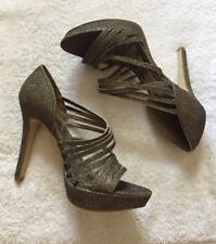 Womens Sz 9 Gianni Bini High Heels Brown Gold Sparkle Glitter Open Toe Strappy