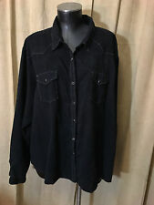 Womens Classic Western Plus Western Blouse 3X Solid Black Long Sleeve Cotton