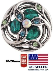 Snap Jewelry Green Marquise Rhinestone Flower 18-20mm Fits Ginger Style Charms