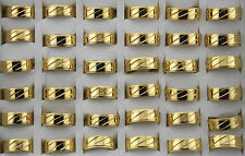Simple Style Stainless Steel Men's RingAh352 35pcs Wholesale Jewelry Lots Gold P