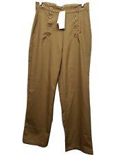 Steampunk Ladies trousers pants Khaki color Button Front Size LARGE