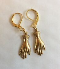 PAIR OF HAND EARRINGS TWO HAND VICTORIAN STYLE CUFF TOP RAW BRASS PIERCED EARS