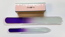Ladies Glass Nail File Set Buffer Manicure Buffing Polish Pedi Care Kit 3 Piece