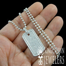 NEW WHITE GOLD FINISH LAB DIAMOND MINI DOG TAG CHARM PENDANT CHAIN NECKLACE SET