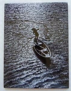 Egg Shell Lacquer Wall Art Picture Moonlight Fisherman Vietnam Asia C2000 Ex Con