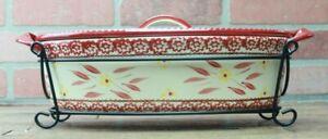 *Temptations 3 Qt Cranberry/Red Floral Oval Baker Casserole Rack Lid Set NEW